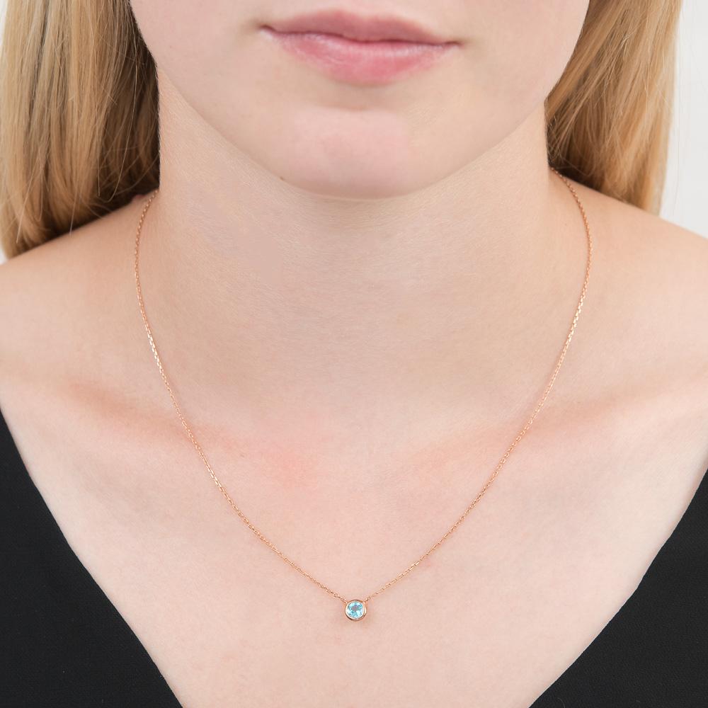 Rose gold blue topaz Raindrop necklace