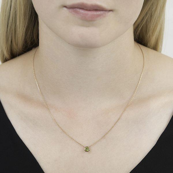 Rose gold peridot Raindrop necklace