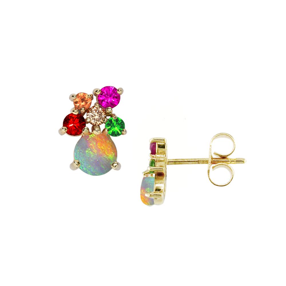 Yellow gold multi stone harlequin earrings