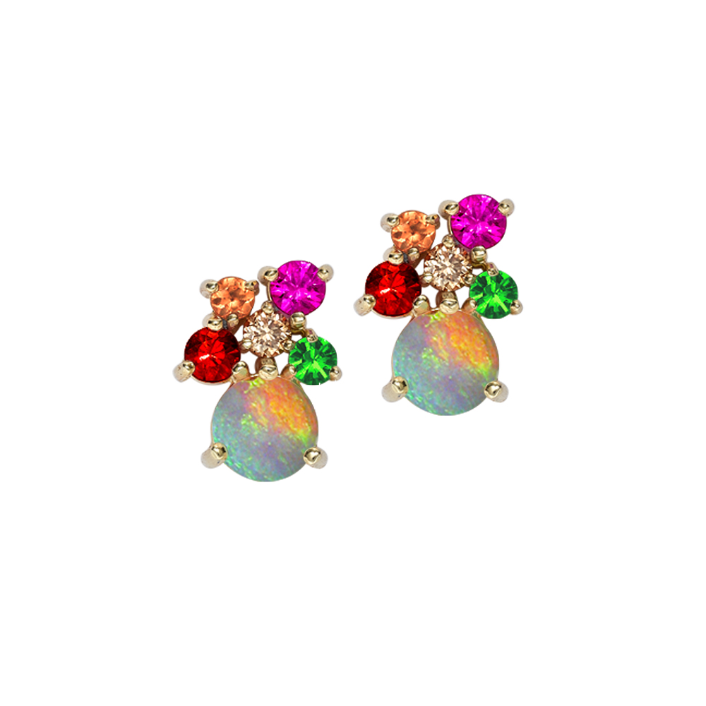 Yellow Gold Opal Multi Gem Harlequin Earrings