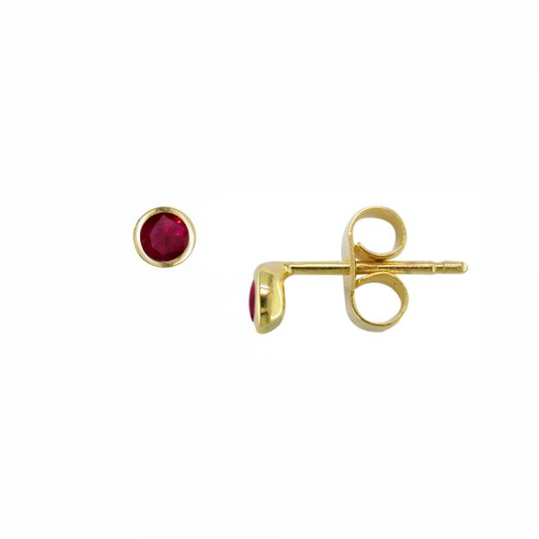 Yellow gold ruby Raindrop stud earrings