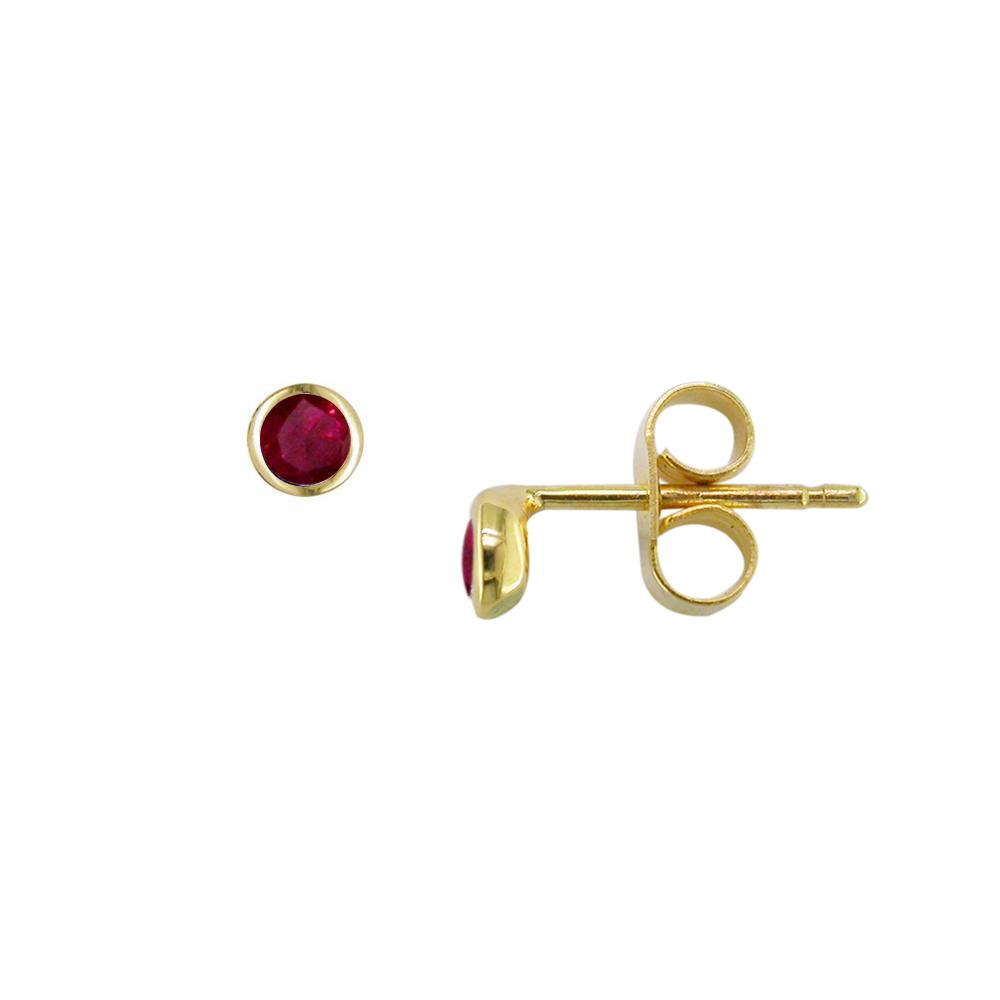 Yellow gold ruby Raindrop stud earrings