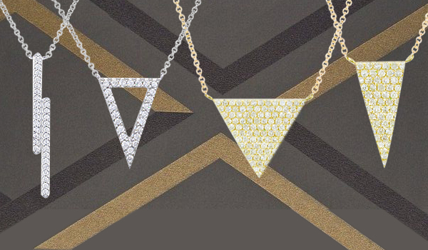 Yellow and white gold diamond Geo pendants
