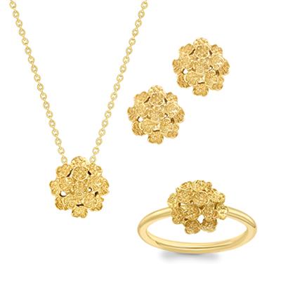 Yellow gold Posy pendant, earrings, ring