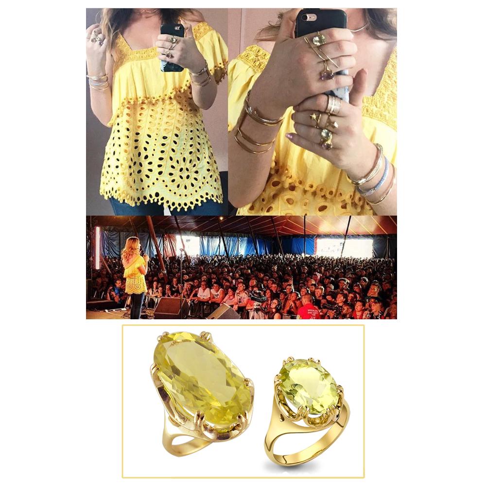 Yellow gold lemon quartz Cocktail rings