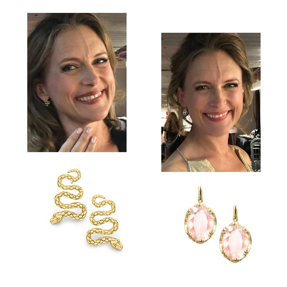 Yellow gold snake earrings and rose quartz earrings