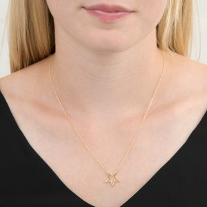 Yellow gold open star necklace
