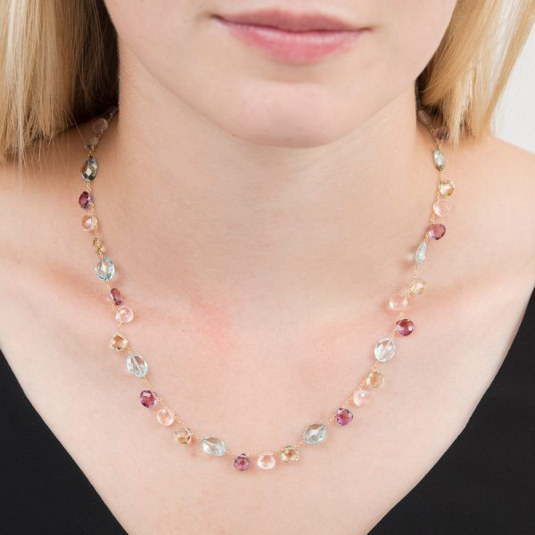 Yellow gold multi gem Carnival necklace