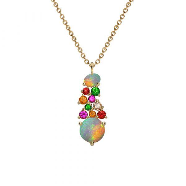 Yellow gold multi stone harlequin pendant