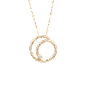 Yellow gold diamond spiral pendant necklace