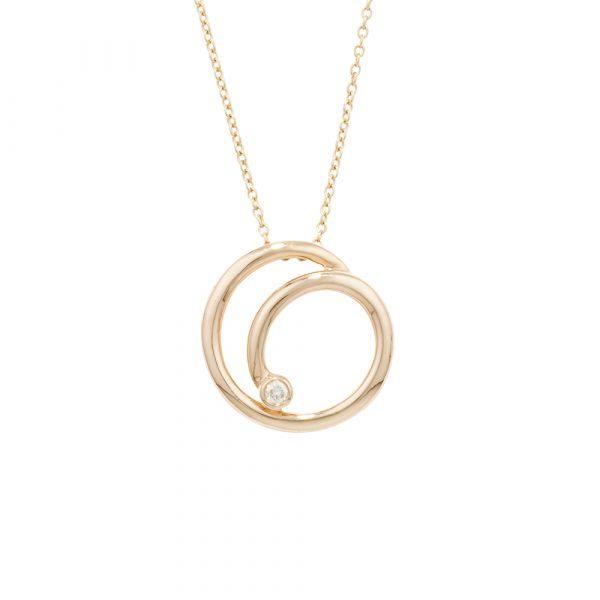 Yellow gold diamond spiral pendant necklace