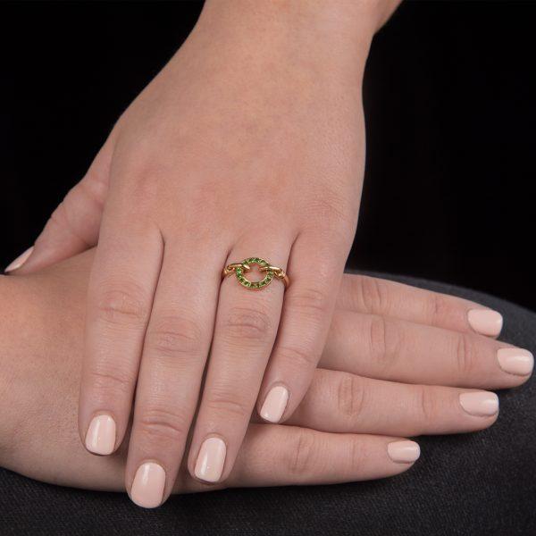 Yellow gold tsavorite Meridian circle ring