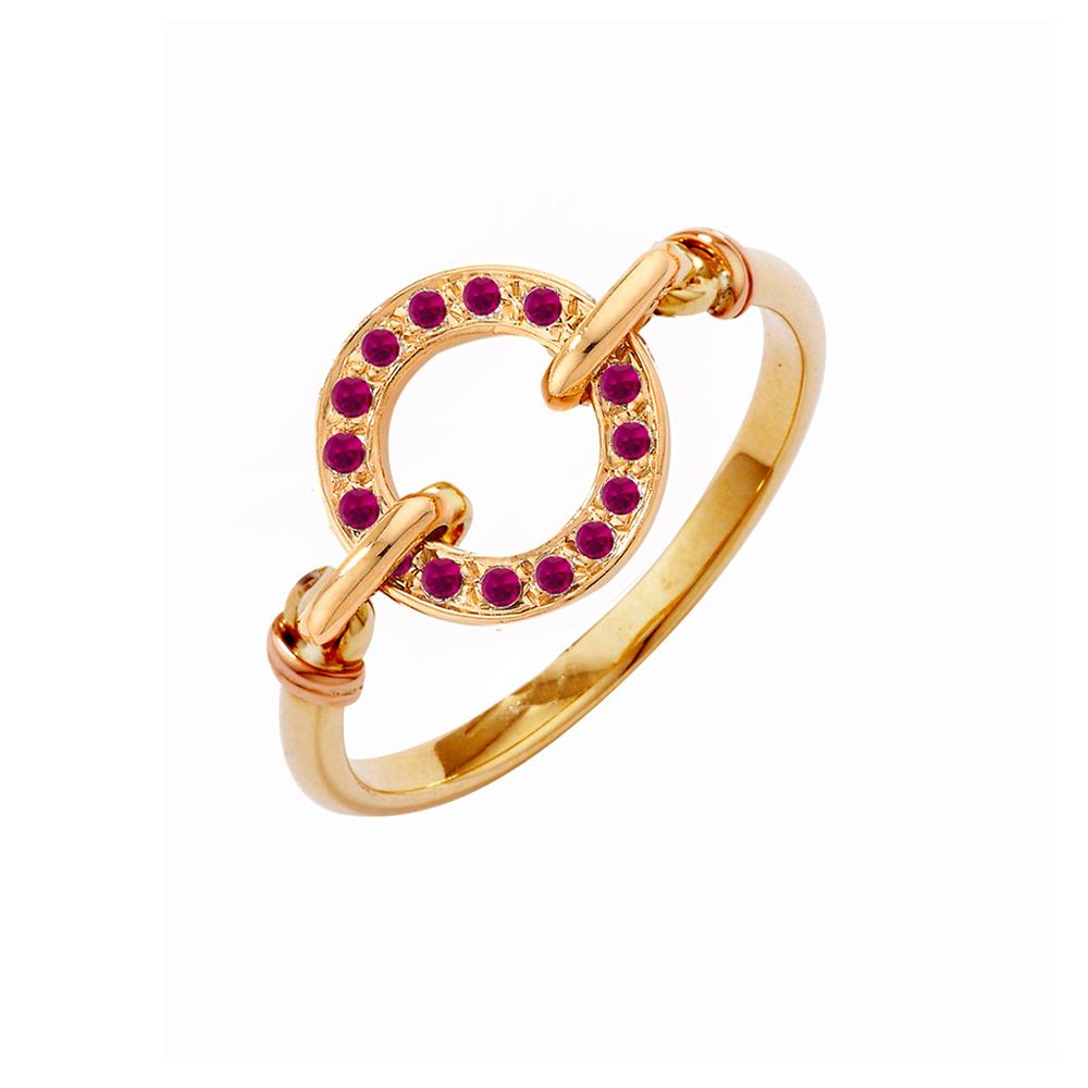 Rose Gold Ruby Circle Meridian Ring