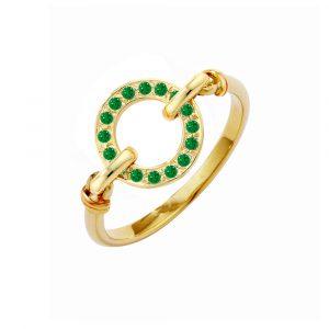 Yellow gold tsavorite garnet Meridian ring