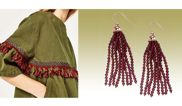 Rose gold garnet bead Tassel earrings