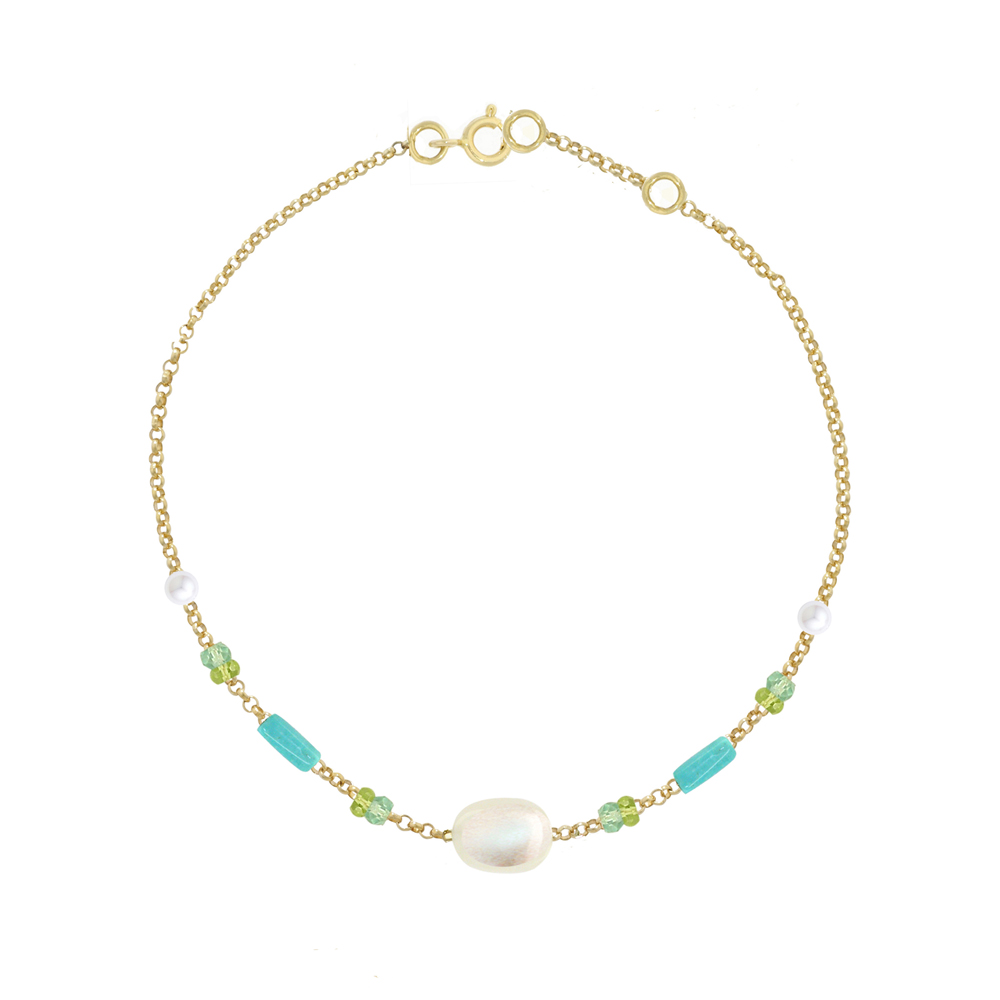 Yellow gold moonstone multi gem bracelet