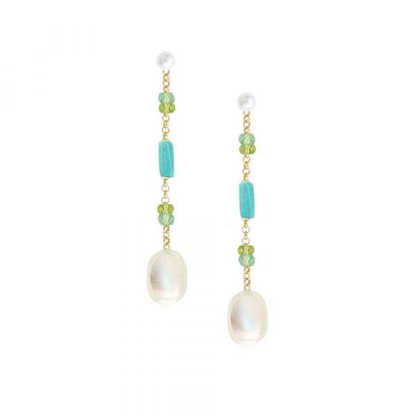 Yellow gold apatite multi gem drop earrings