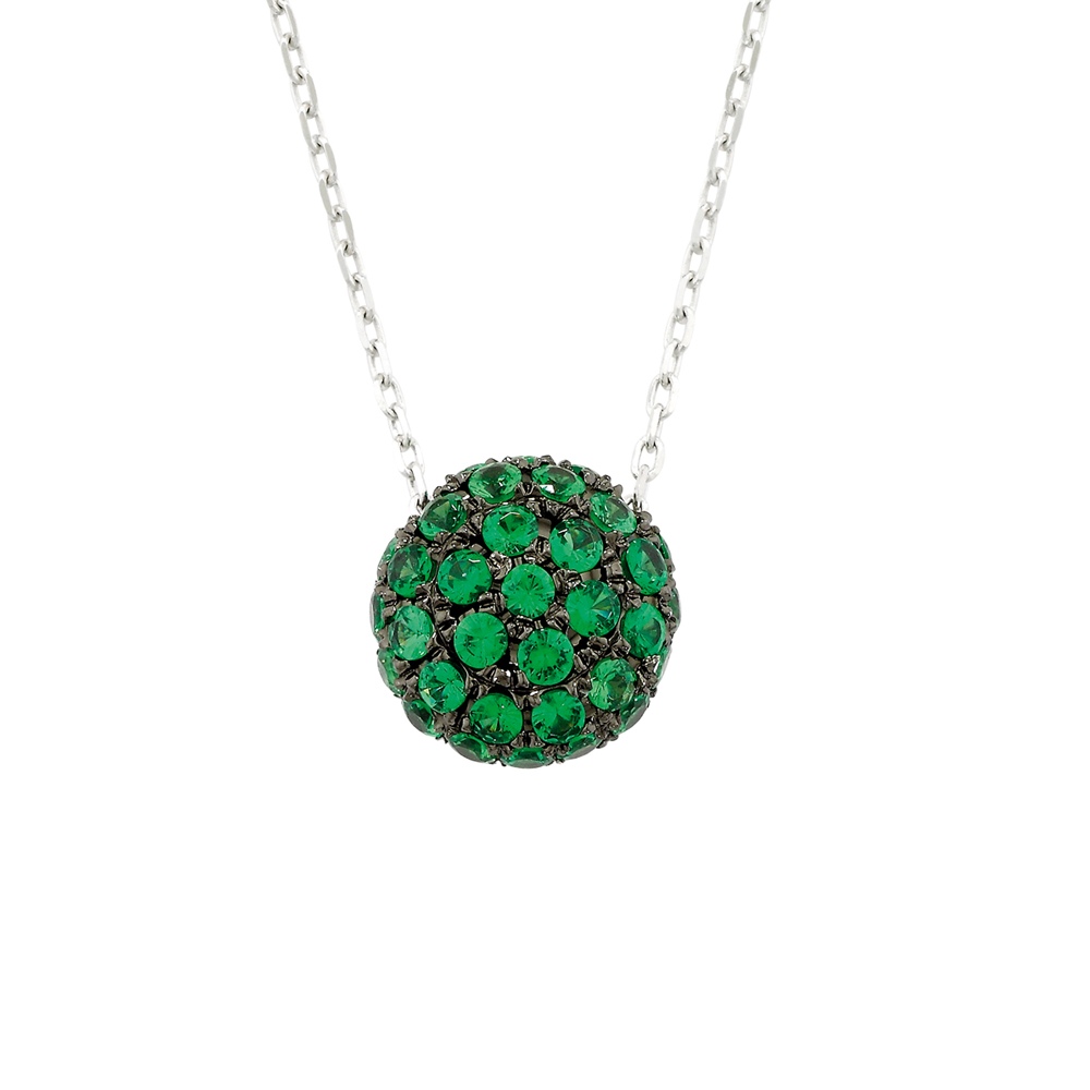 White gold tsavorite garnet ball pendant necklace london road white gold tsavorite garnet ball cluster pendant aloadofball Gallery
