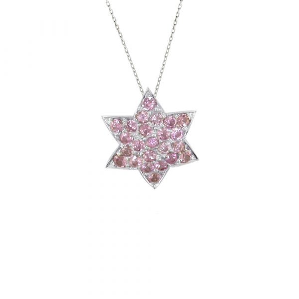 White gold pink sapphire star pendant