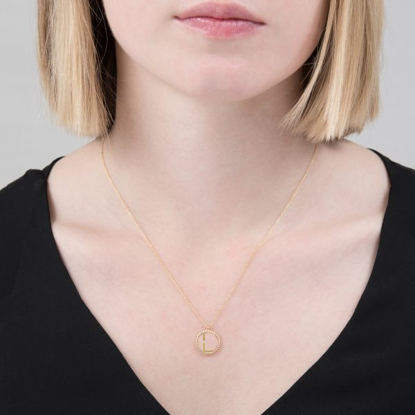 Yellow gold diamond initial L pendant