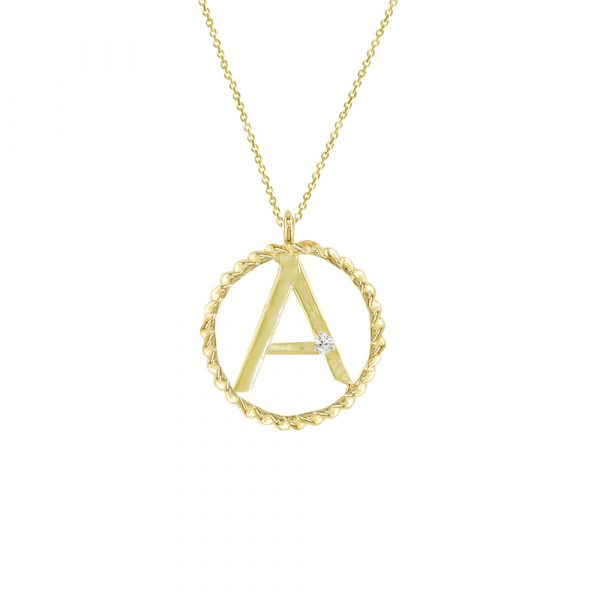 Yellow gold diamond A initial pendant