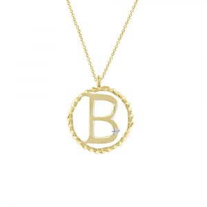 Yellow gold diamond B initial pendant