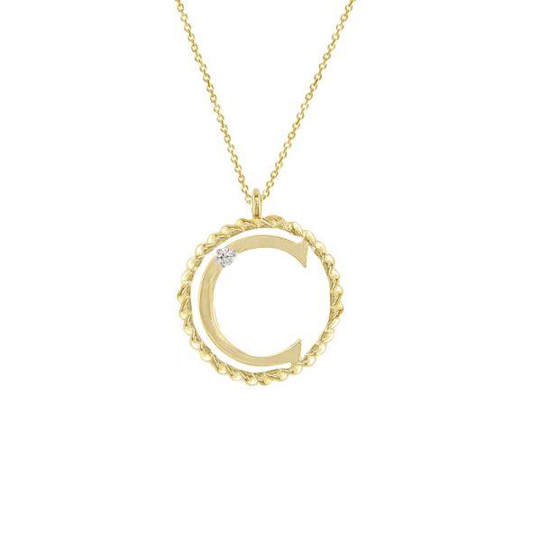Yellow gold diamond C initial pendant