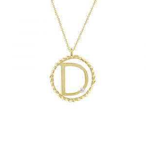 Yellow gold diamond D initial pendant