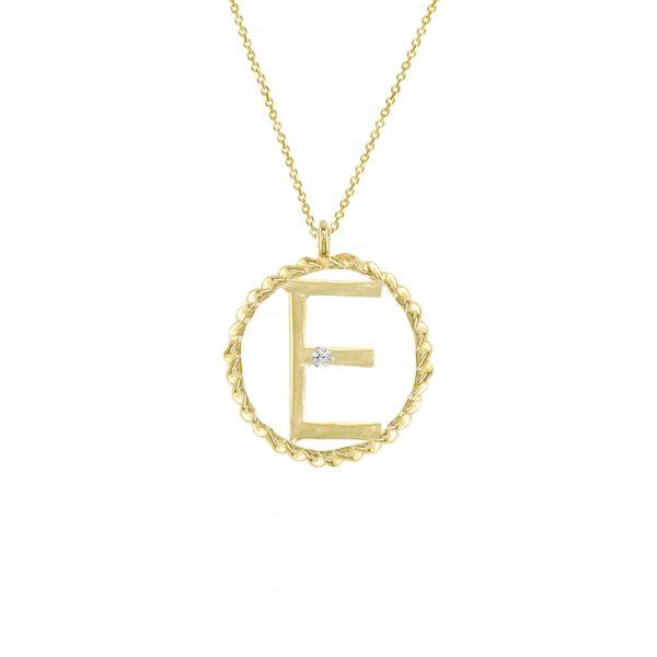 Yellow gold diamond E initial pendant