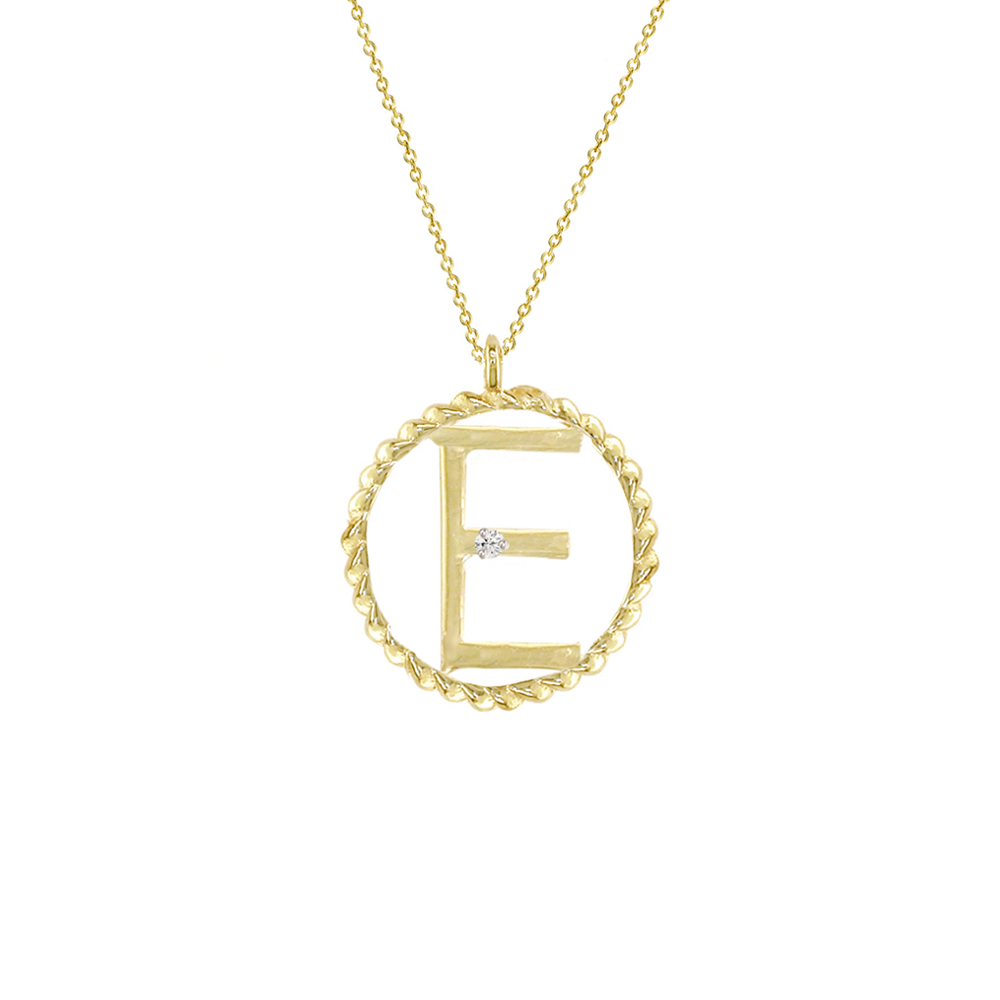 Yellow gold diamond E initial pendant