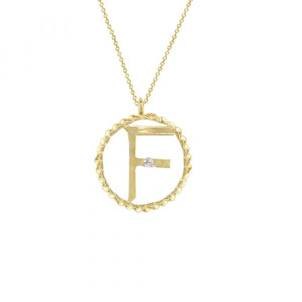 Yellow gold diamond F initial pendant