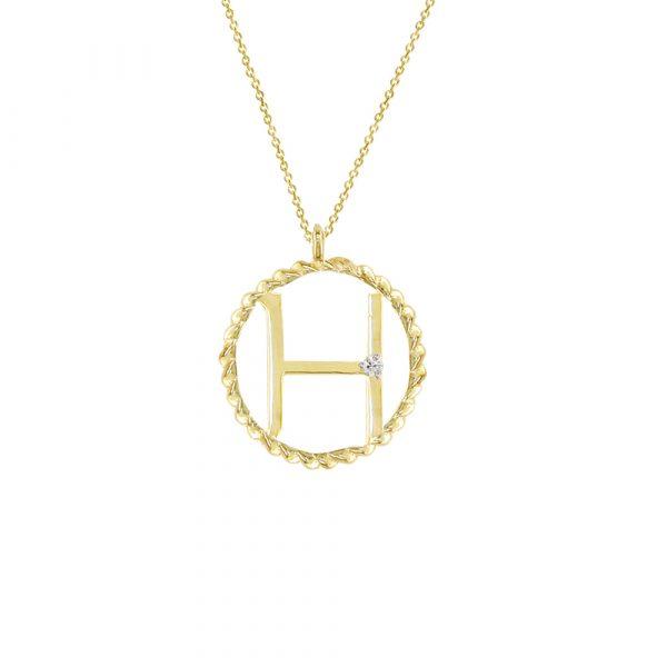 Yellow gold diamond H initial pendant