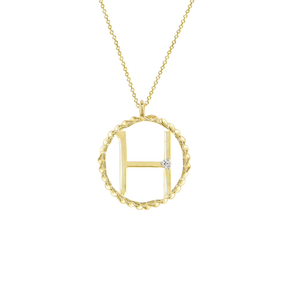 Yellow gold diamond H initial pendant