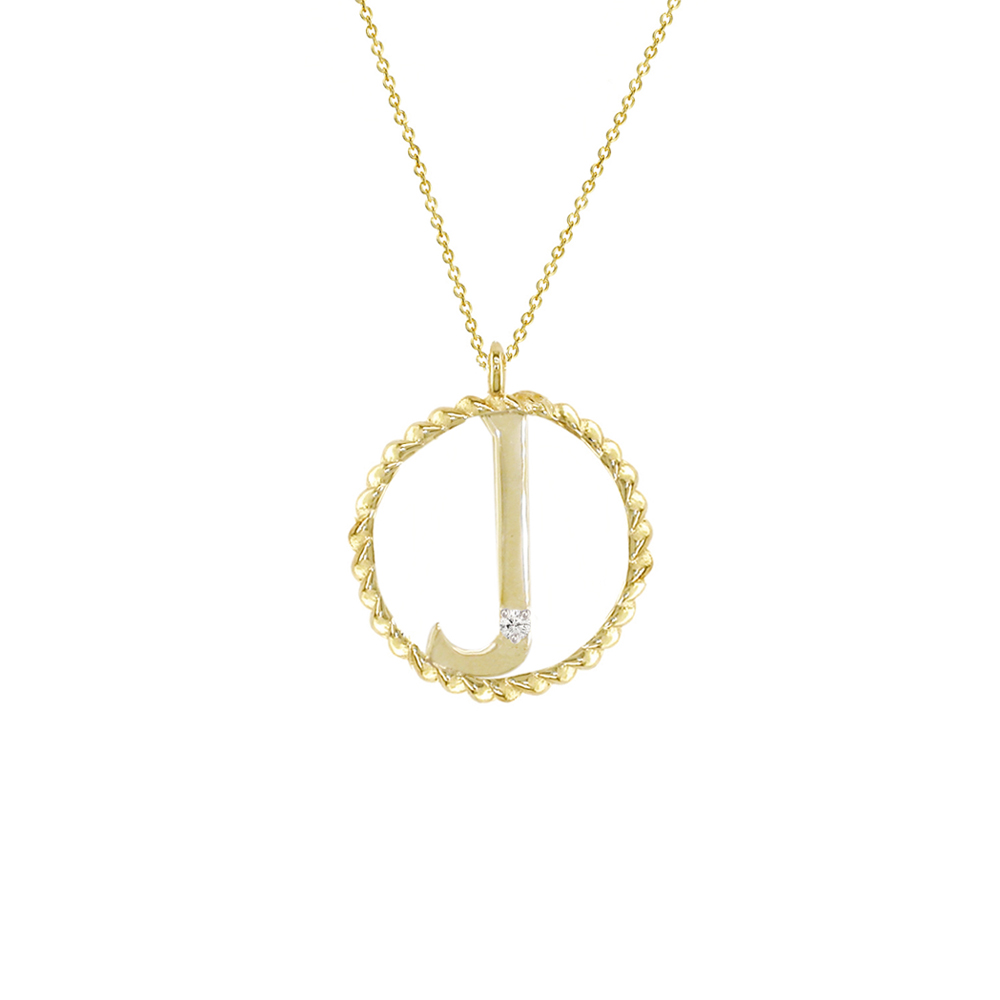 Yellow gold diamond J initial pendant