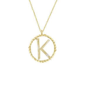 Yellow gold diamond K initial pendant
