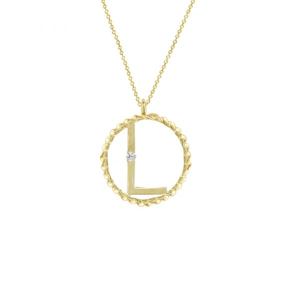Yellow gold diamond L initial pendant