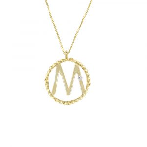 Yellow gold diamond M initial pendant