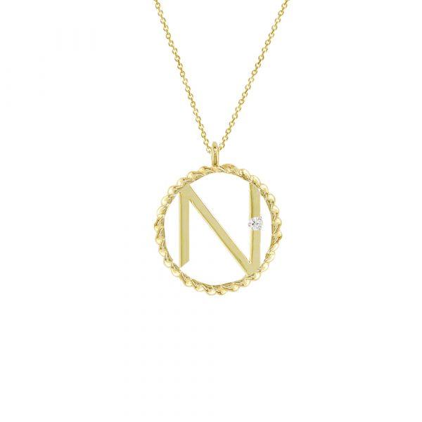 Yellow gold diamond N initial pendant