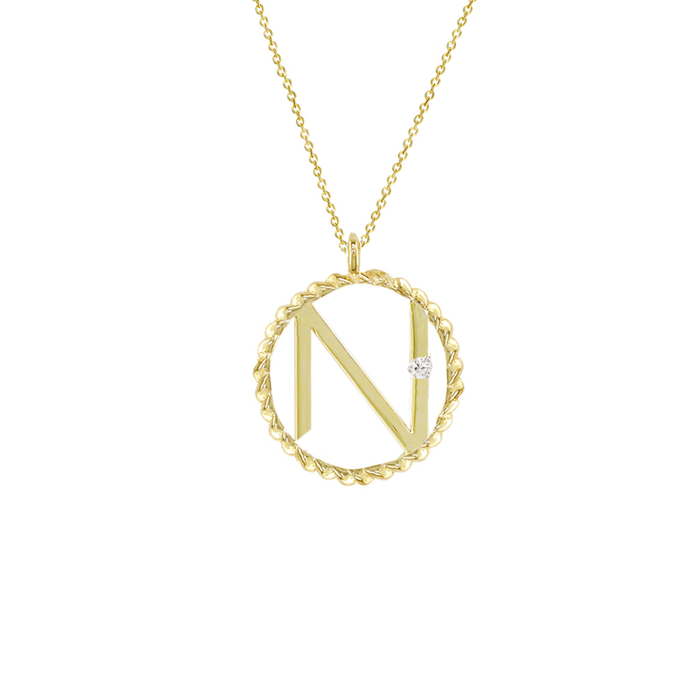 Yellow gold diamond N initial pendant