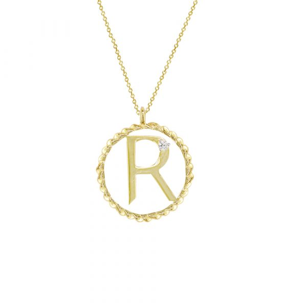 Yellow gold diamond R initial pendant