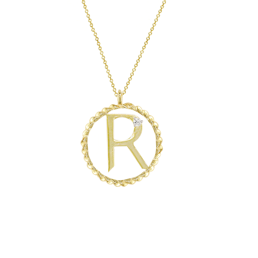 Yellow gold diamond R initial pendant