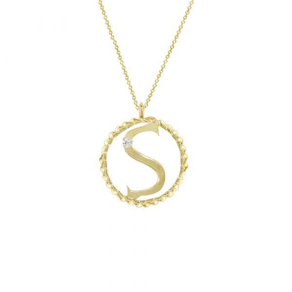 Yellow gold diamond S initial pendant