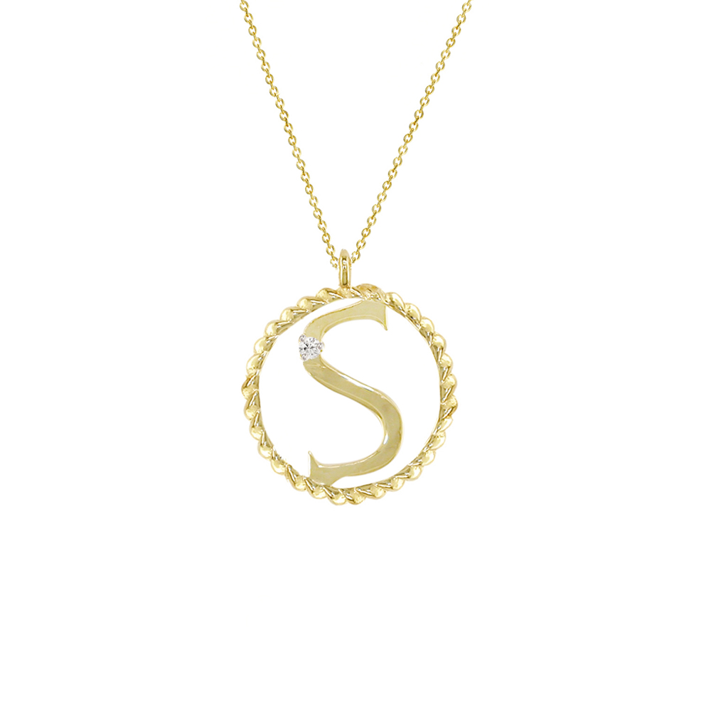 Yellow gold diamond S initial pendant