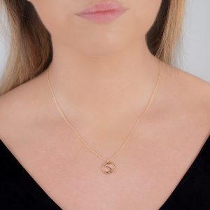 Yellow gold diamond initial letter S pendant