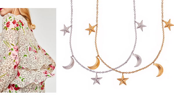Silver and rose gold 3D star moon necklaces
