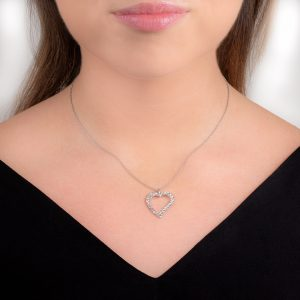 White gold hammered heart necklace pendant