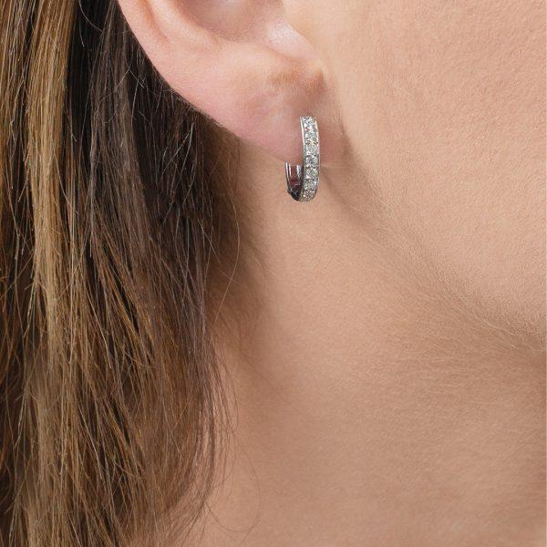 White gold diamond hoop Meridian earrings