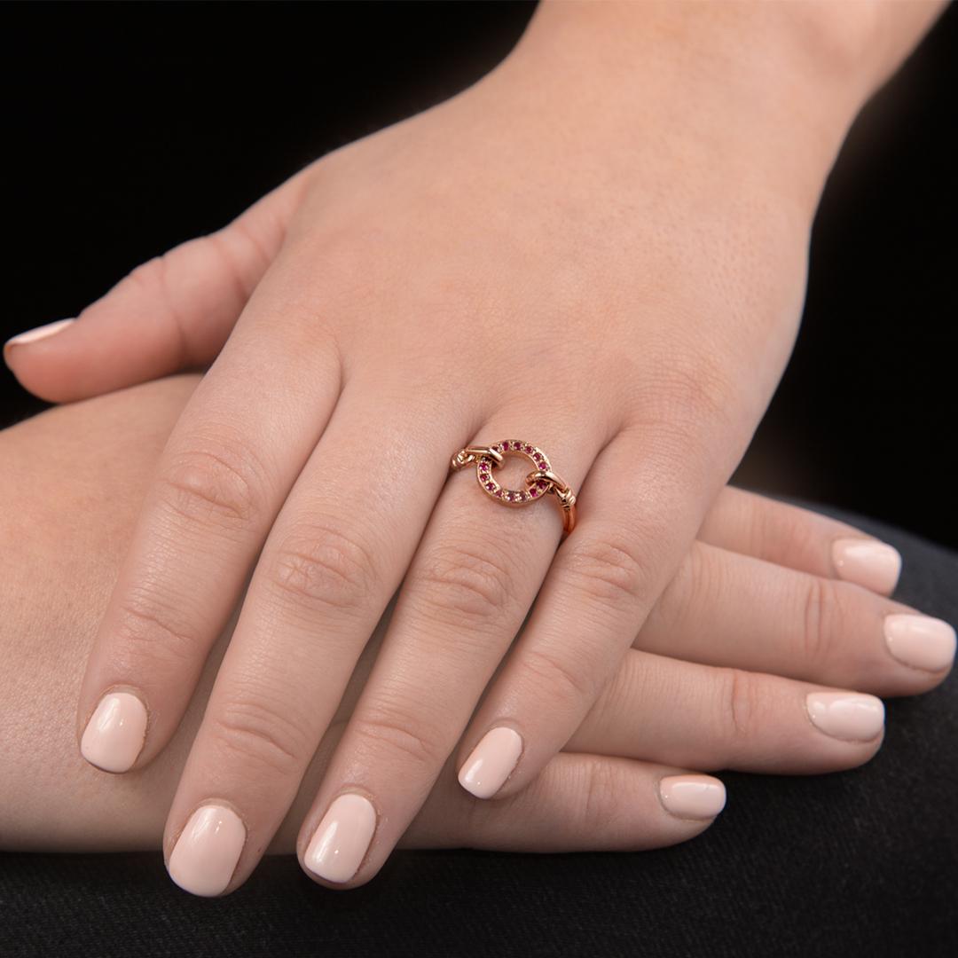 Rose gold ruby Meridian circle ring
