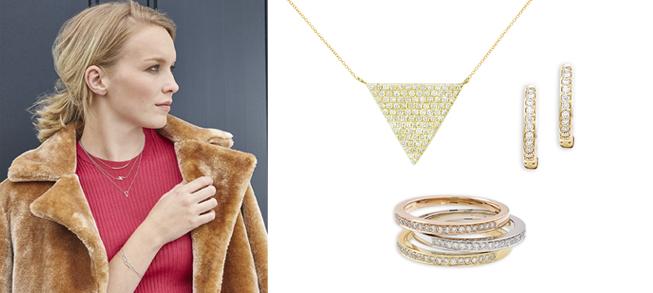 Yellow gold diamond jewellery