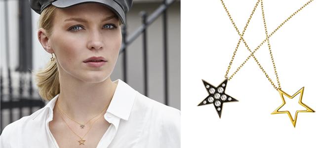 Yellow gold diamond Starry Night pendants